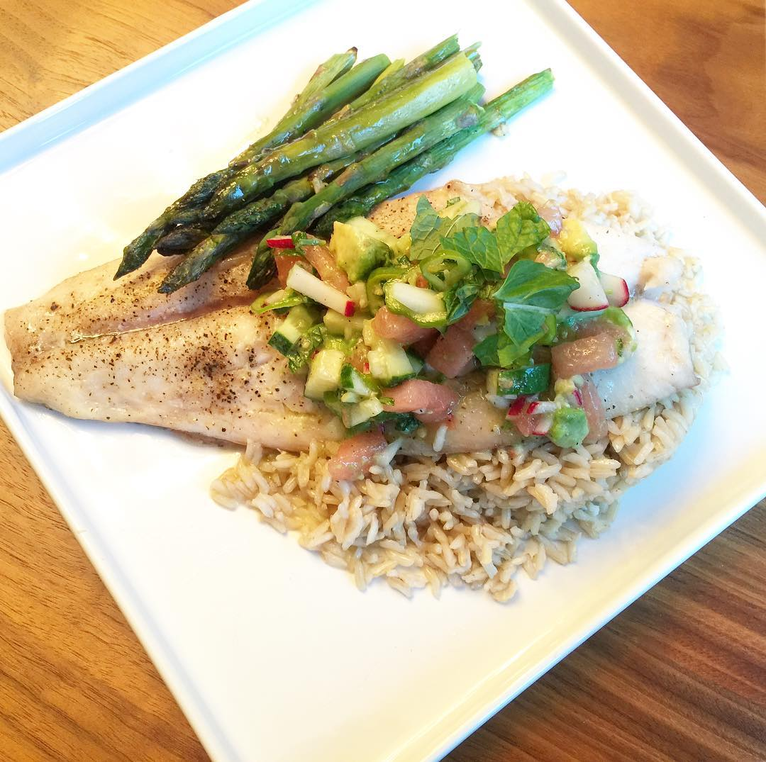 Red Snapper with Garlic Asparagus