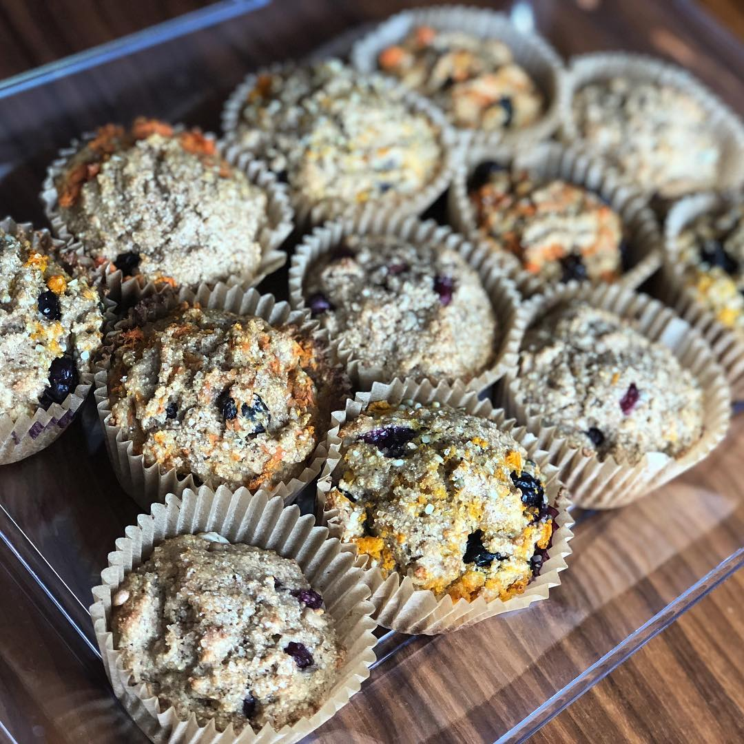 My son and I made a mix of muffins the other morning. I put out some toppings and after we made a standard whole wheat/apple sauce/honey batter, we filled the tins 2/3 of the way up. Then he added our fillings and I mixed them in before we baked them. We had blueberry/lemon zest/hemp seed muffins, carrot/raisin muffins, pomegranate seed/sunflower seed muffins. This was a fun way for my son to be involved in more than just the pouring and stirring. He came up with carrot/raisin and that's the one he was super anxious to eat