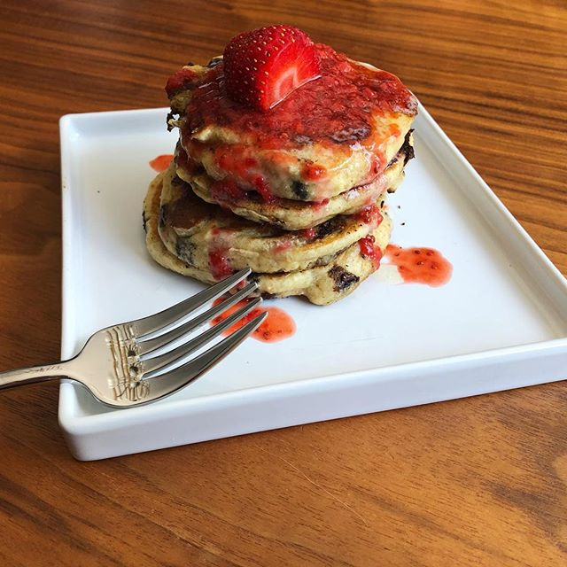 "Chocolate Chip Buttermilk Pancakes with Strawberry ""Jam"""